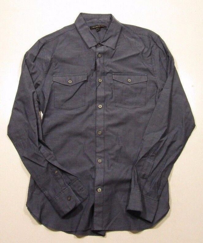 John Varvatos Star Woven Roll Tab bluee Trim Fit Shirt