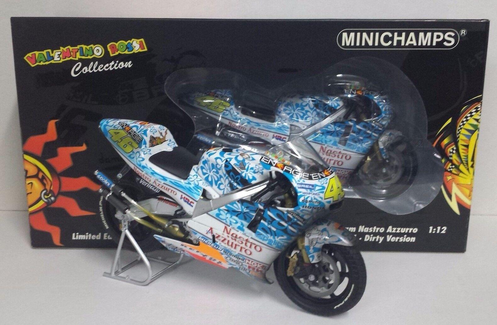 MINICHAMPS VALENTINO ROSSI 1/12 HONDA NSR 500 NASTRO AZZURRO GP MUGELLO 2001 NEW