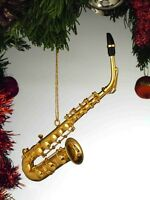 Gold Brass Alto Saxophone 4.5 Musical Instrument Christmas Ornament Gift Boxed