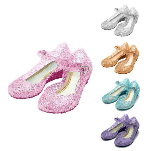 Kids Girls Beach Casual Princess Frozen Elsa Cosplay Sandals Crystal Jelly Shoes