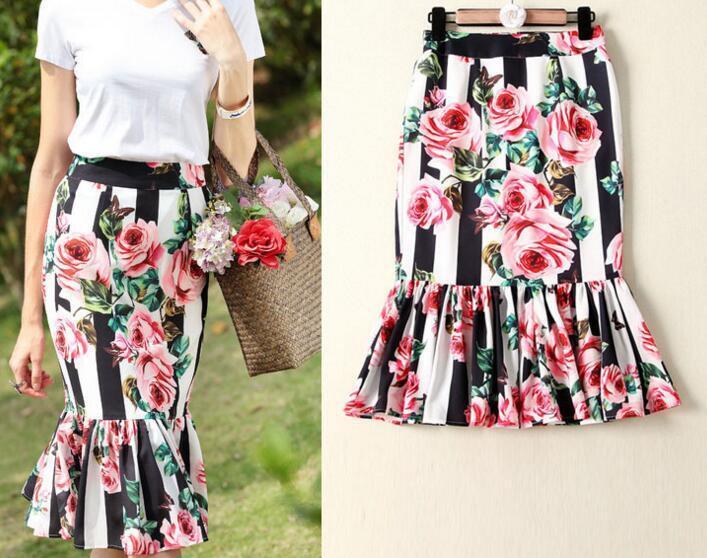 Party style runway hot greenical stripe peony Print fashion Fishtail skirt