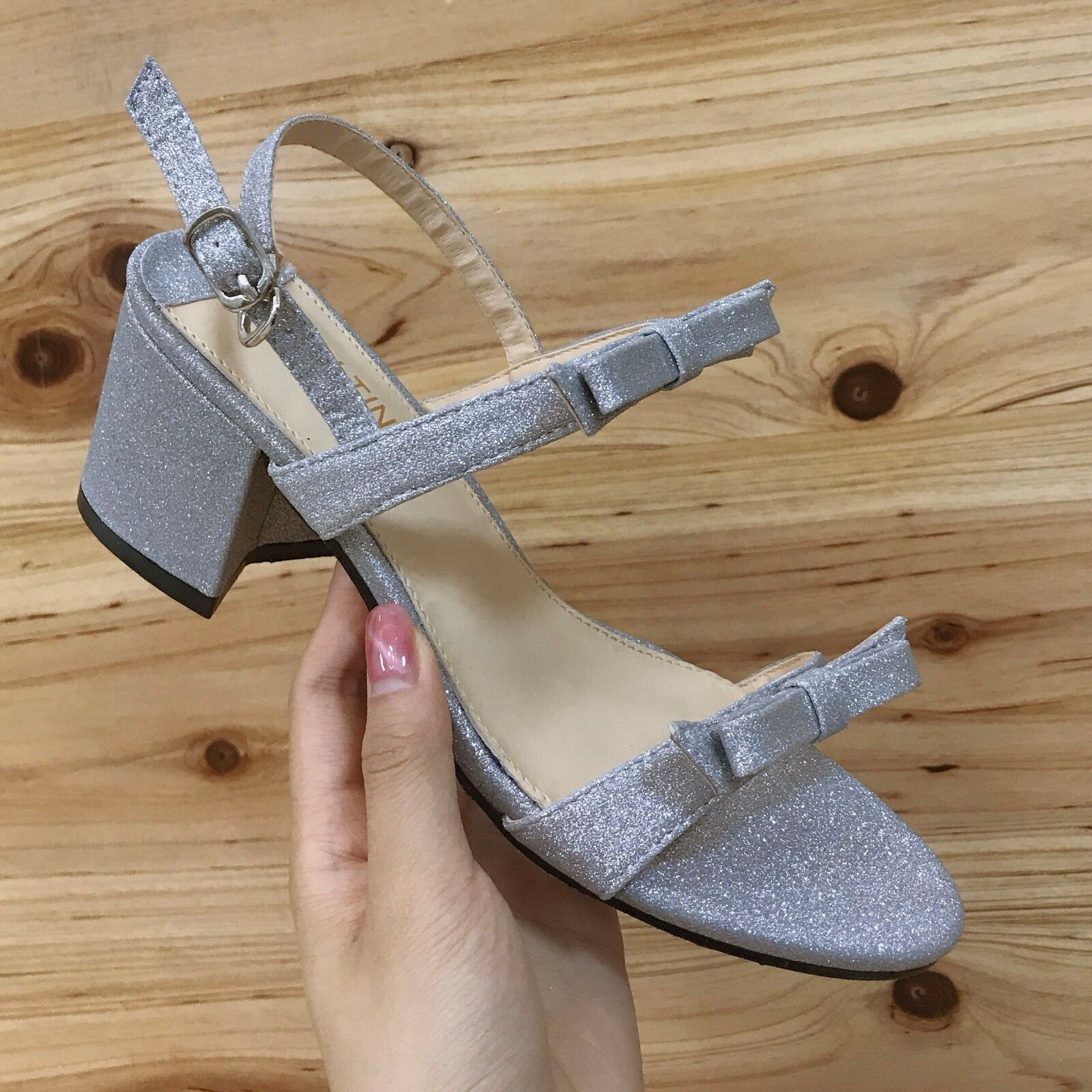 Sandali 7 cm eleganti gris brillantini tacco quadrato pelle sintetica 1093
