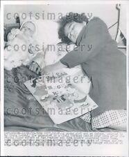 1955 Precious Children Sleep With Doll Yuba City CA Flood Press Photo