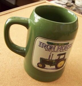 John Deere tractor ceramic tankard mug Iron Horse More Horses More Iron coffee