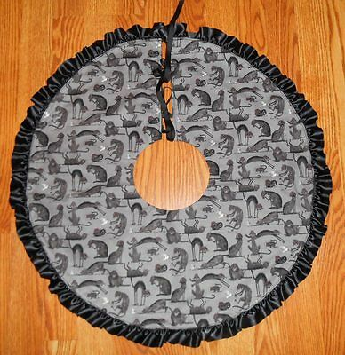 "SPOOKY BLACK CATS, Mice, Bird Tree Skirt, Lamp Skirt 24"" dia HALLOWEEN, prim"