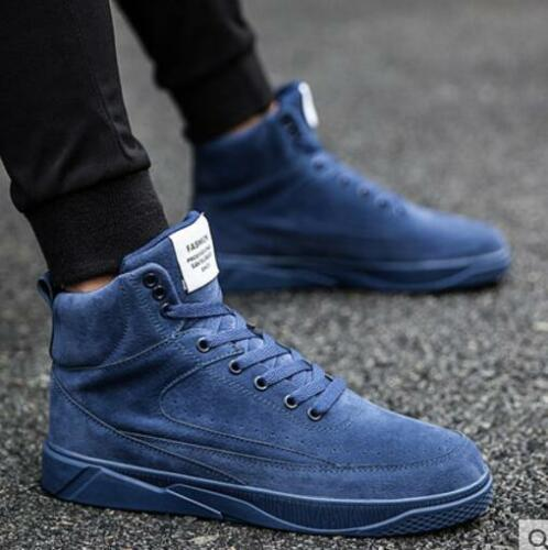Color Fashion Mens Style Top Casual Skate High Shoes Lace Comfort B196 Solid Up 3AjLq54R