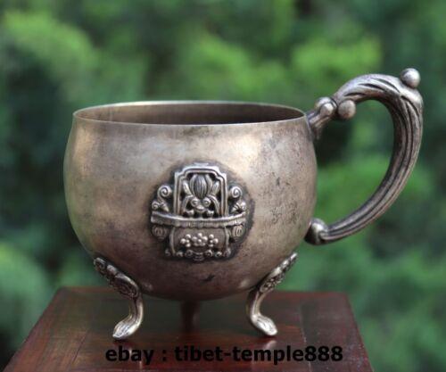 9 CM China Tibet Silver Handwork basket flowers 3 Leg goblet cup tumblerful Mugs