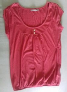 HAUT-FEMME-manches-courtes-coton-polyester-rose-fuchsia-3-suisses-taille-38-40