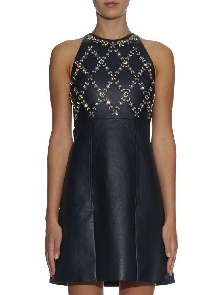 Erdem Navy Leather Wool Crystal Floral  Hudson  Sleeveless Dress Size  US 4