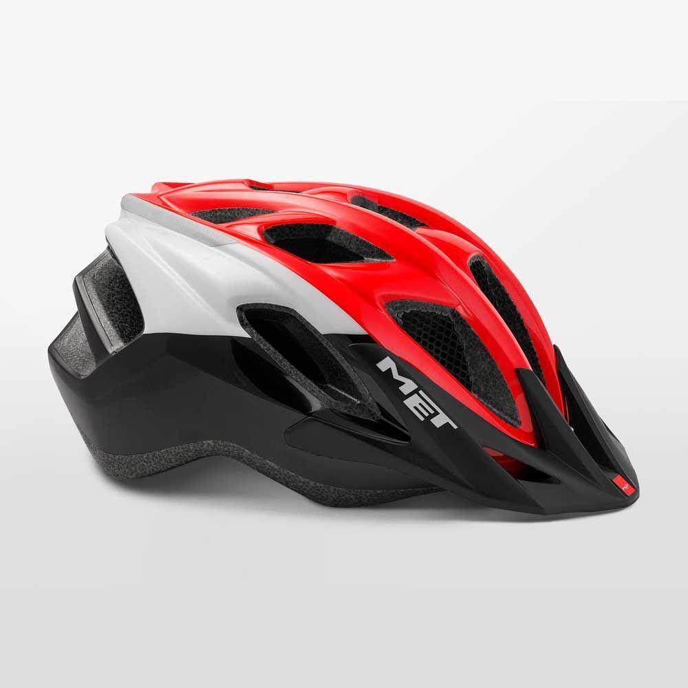 ROAD Bike Cycle Casco MET Funandgo-ROSSO NERO BIANCO LUCIDO Taglia: 54-61 cm