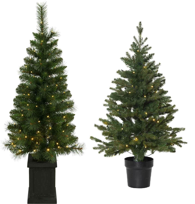 LED Weihnachtsbaum im Topf 90 o. 120cm Höhe 40 oder 90 LEDs warmweiß f. Außen