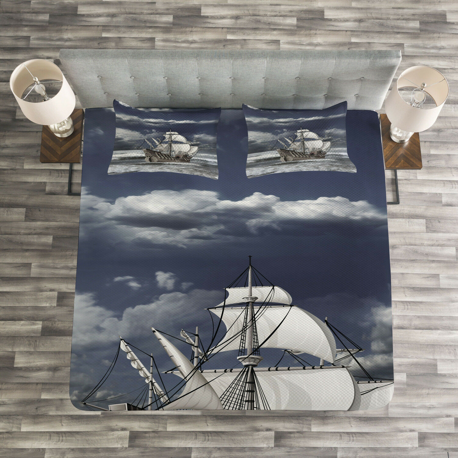 Grey Quilted Bedspread & Pillow Shams Set, Caribbean Pirates Ship Print