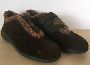 STUART-WEITZMAN-Womens-Brown-Suede-Leather-Fleece-Lined-Strap-Shoes-6-5