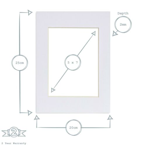 """Picture Photo Mounts White to Fit Frame 8 x 10/"""" for Image Size 5 x 7 Pack of 10/"""""""