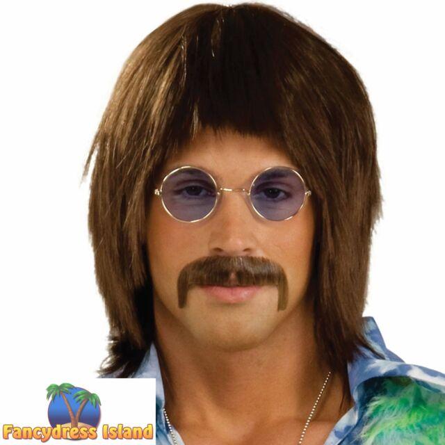 Brown 60s Mop Top Costume Wig Beatles 70s Shaggy Dude British Singer Cool Hippie
