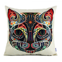Cat Face Pattern Throw Pillow Case Square Cushion Cover Home Sofa Bed Decor