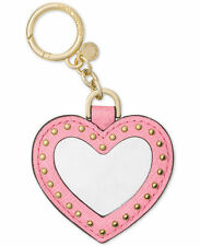 Michael Kors Leather Studded Mirror Heart Key Charm Fob Misty Rose 32T6GLXK9L