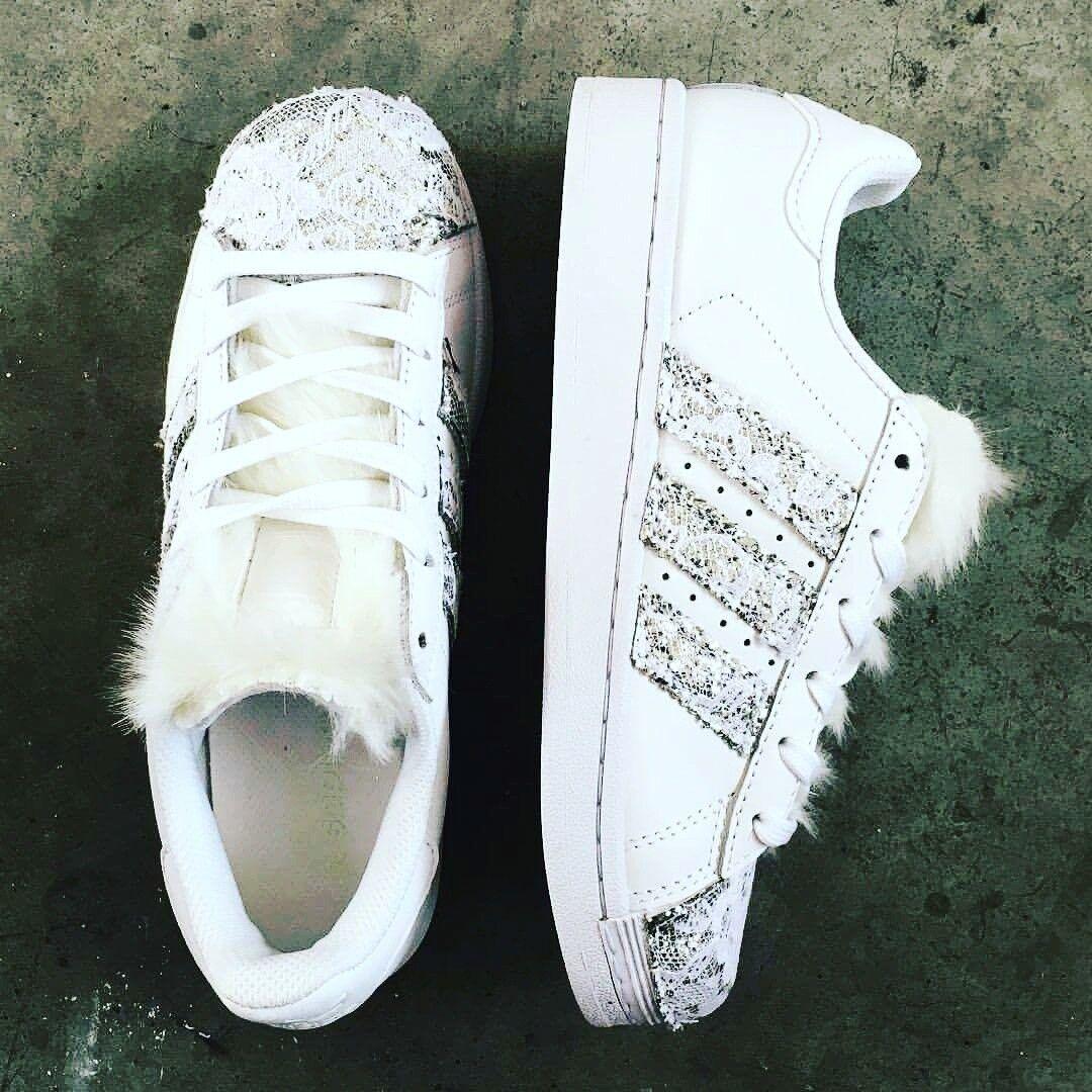 Chaussures adidas superstar con glitter argento con pizzo bianco piu' linguetta pelo