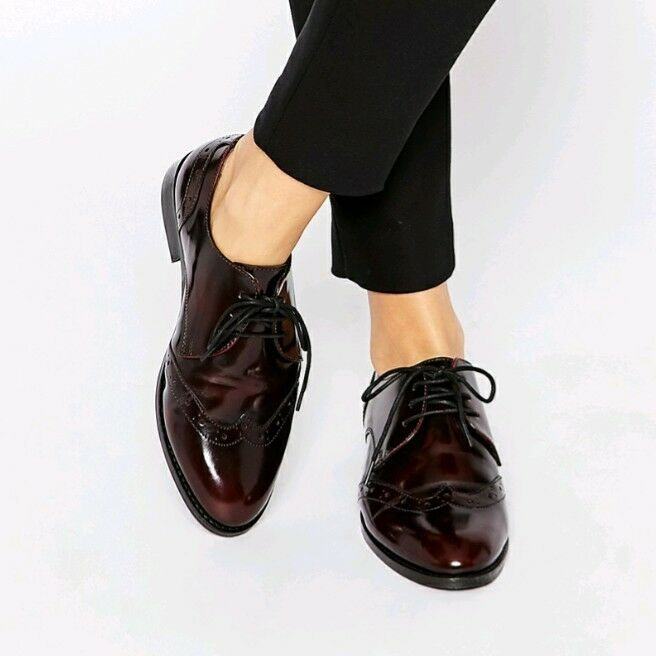 1f71039ff3b ASOS Oxblood Brogue Burgundy Lace-up Derby Flat shoes 4 37 NIB Leather  npkifp2307-Women s Comfort Shoes. Caterpillar shoes Size 12 Black ...