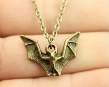 vintage antique bronze color bat necklace
