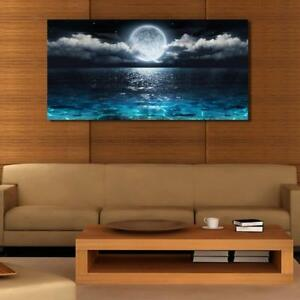 Wall Art Canvas Ocean Moon Beach Decor Nautical Home ...