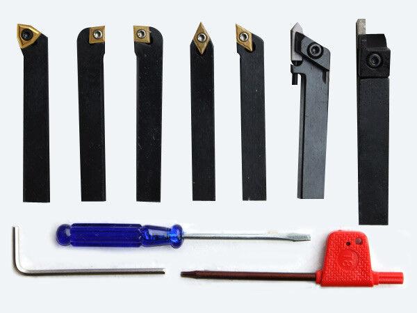 7Pcs S N 10200 6 8 10 12 20mm CNC Indexable Turning Tools SIEG Lathe Cutting