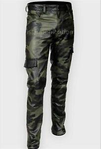 Hommes Cuir Véritable Pantalon double zips Pants Jeans Pantalon intérêt BLUF Pantalon