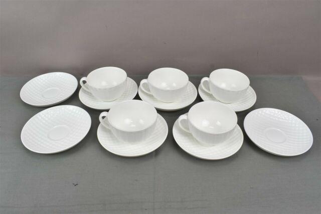 Wedgwood Night & Day Bone China Flat Tea Cups Saucers England 1759 Set of 13