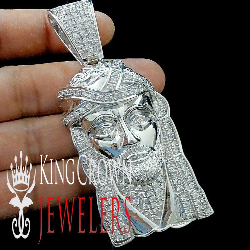 Bianco oro su argentoo Sterling 3.75 3.75 3.75 XL Gesù Testa Quadrante Ciondolo Pendente 996e79