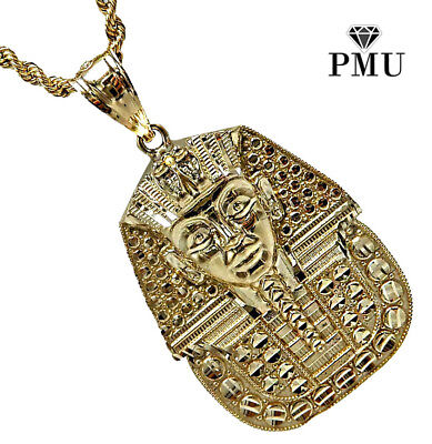 10K Yellow Gold Small Saint Jude Pendant with 2mm 24 Rope Necklace