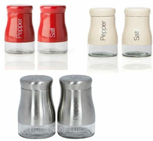 SALT AND PEPPER SHAKER SET STAINLESS STEEL RED CREAM GLASS POT CONDIMENT JAR