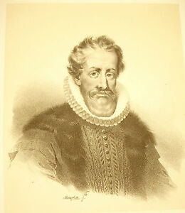 Lithography-Of-Jean-Baptiste-Mauzaisse-Nicolas-of-Neufville-Marquis-Of-Villeroy