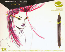 Prismacolor  12 Fine & Brush Tip Art Markers in Primary & Secondary Colors