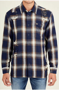 True-Religion-Men-039-s-Long-Sleeve-Loose-Fit-Button-Front-Plaid-Shirt-in-Navy