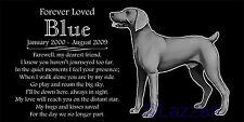 Personalized Weimaraner Pet Dog Memorial 12x6 Engraved Granite Grave Marker