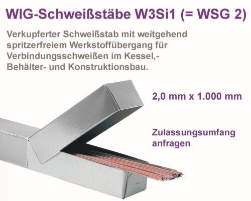 1 Kg Schweißdraht//WIG-Schweißstäbe SG 2 WSG 2 2,0mm 1000mm lang