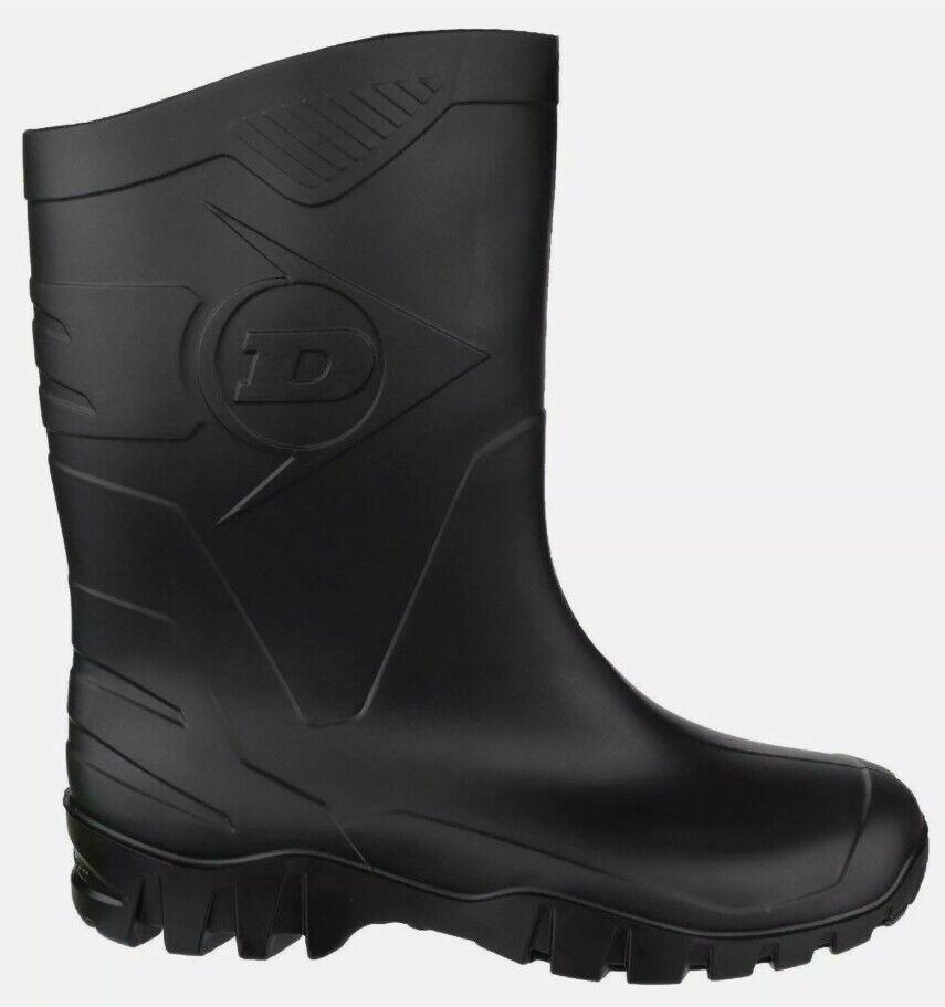Dunlop HEVEA DEE Unisex Half Length Wide Calf Wellington Boots Wellies Black new