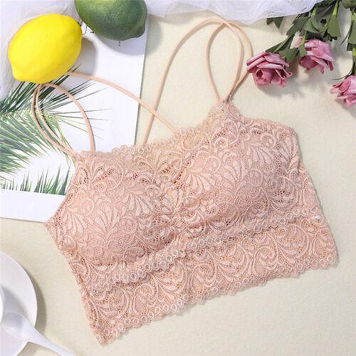 Women Lace Bra Bralette Seamless Unpadded Flower Bra Crop Top Lined Bustier new.