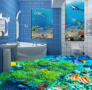 3D Green Coral Fish 5 Floor WallPaper Murals Wall Print 5D AJ WALLPAPER UK Lemon