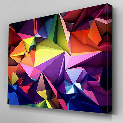 AB952 Geometric yellow purple red Canvas Wall Art Abstract Picture Large Print