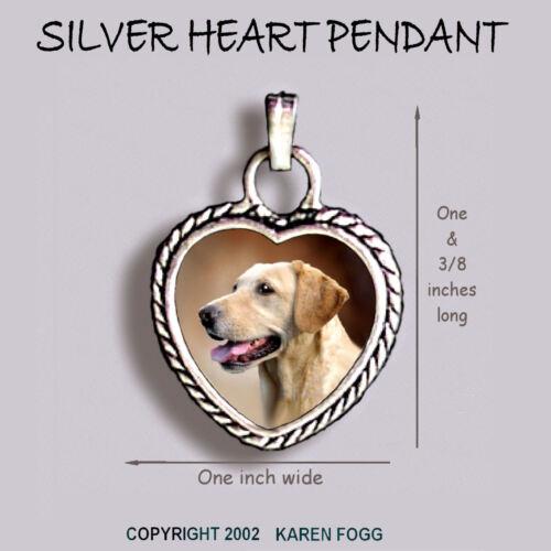 Ornate HEART PENDANT Tibetan Silver LABRADOR RETRIEVER DOG Yellow Side View