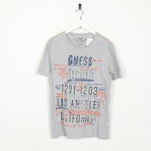 Vintage-GUESS-Spell-Out-Graphic-T-Shirt-Grey-Small-S