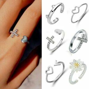 Silver-Ocean-Wave-Flower-Heart-Hollow-Fashion-Ring-Size-7-Women-Lady-Jewelry
