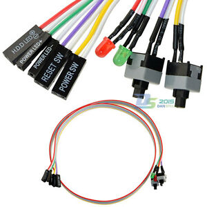 4in1 PC Power Reset Switch HDD LED Cable Light Wire Kit Assembly for ...