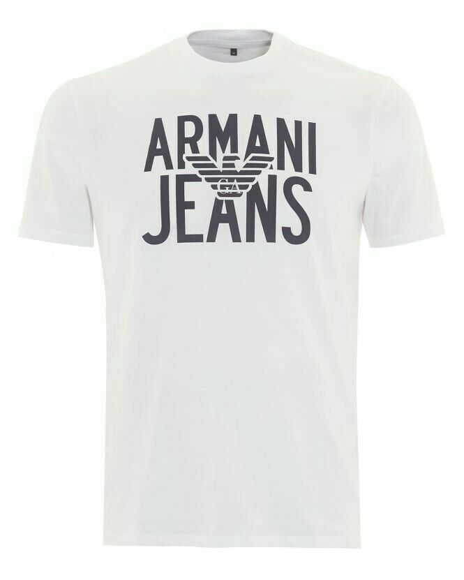 Cl12  Armani T-Shirt Weiß Eagle Logo Printed  Herren Größe XL