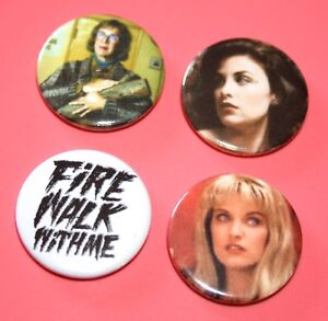 SET-OF-4-TWIN-PEAKS-LOG-LADY-AUDREY-HORN-LAURA-PALMER-BUTTON-PIN-BADGES