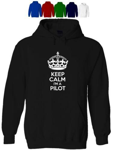 Keep Calm I/'m un pilota Uomo Felpa con cappuccio divertente compleanno umorismo aerospaziale
