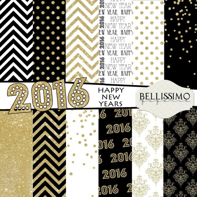 Gold Glitter 2016 Scrapbook Paper package, 12 Sheets, New Year, black, gold