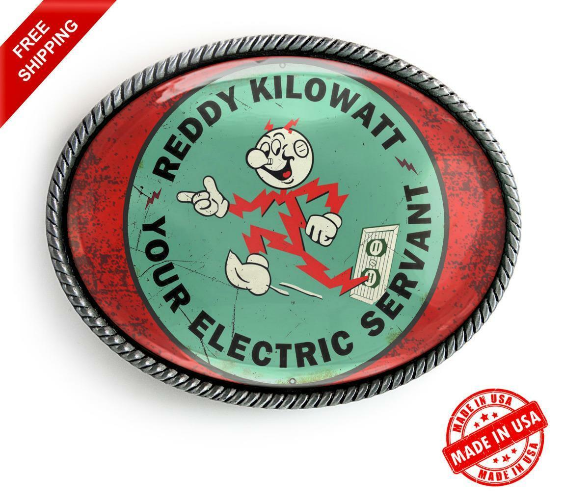 Reddy Kilowatt Belt Buckle - Retro Electric Co Art Handmade Oval Buckle - 381