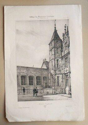 Hotel Il Bourgtheroulde A Rouen Sincere Litografia Originale 19esimo Fichot